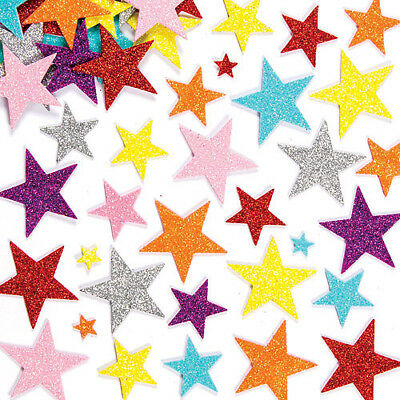 Glitter Star Foam Stickers for Kid's Crafts & Card Making Projects (Pack of 150)