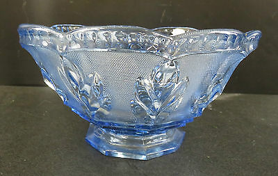 Large Blue Coloured Glass Fruit / Trifle Bowl With Leaf Designs & Fluted Edges