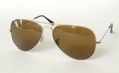 NEW RAY BAN AVIATOR RB3025 001/33( SMALL) GOLD FR. BROWN LENSES SUNGLASSES 55mm