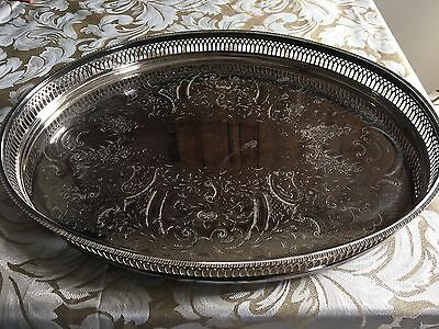 Large OVAL Silver plated Made in England CAVALIER DRINKS TRAY