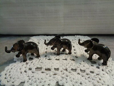 Set of 3 Bone China Miniature Elephant Figurines Gloss Finish