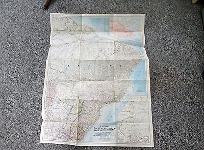 Vtg 1955 National Geographic Magazine Large Map Eastern South America 550