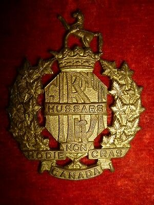 1st Hussars Cap Badge, Canadian WW2, Mazeas C5, Older example