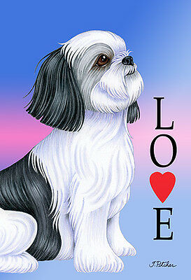 Large Indoor/Outdoor Love (TP) Flag - Black & White Shih Tzu 60011