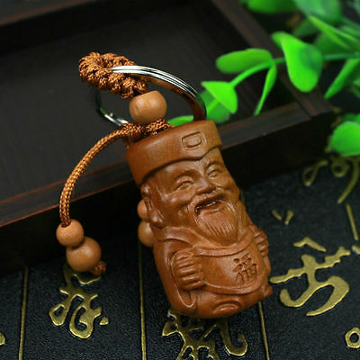 Happiness God Statue Wood 3D Carved Chinese Geomancy Sculpture Pendant Key Chain