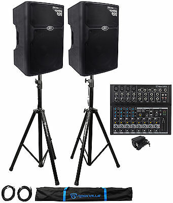 """2 Peavey PVXp 15 PVXp15 800W Active 15"""" PA Speakers+Mackie MIX12FX+Stands+Cables"""