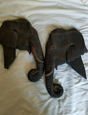 Carved Wood Elephant Head Plaques