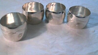 Antique Silver 950 Solid Napkin Rings Set of 4 All Marked--Hand Engraved...