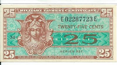 Rare Series 521 25 cent Military Payment Certificate MPC Note Currency CHAU #23E