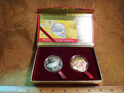 2007 Singapore 20 Gram Silver & Colorized Coin Set Pigs - Free S&H USA