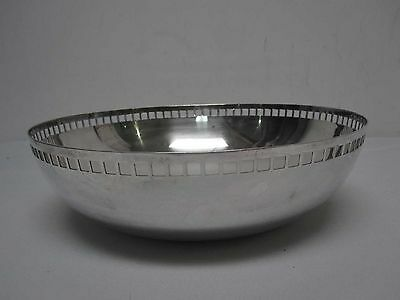 "SWID POWELL RICHARD MEIER 10 1/4"" SKYSCRAPER SILVERPLATE BOWL w PIERCED SQUARES"