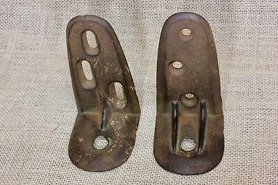 "2 old Shelf Support Brackets 4 1/4"" x 2 5/8"" vintage industrial cast iron rustic"
