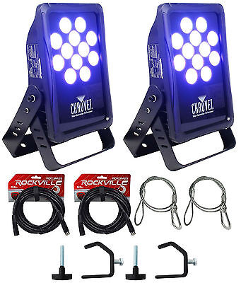 2 Chauvet DJ SlimPANEL Tri-12 IP Indoor/Oudoor Wash Lights+2 DMX cables+2 Clamps