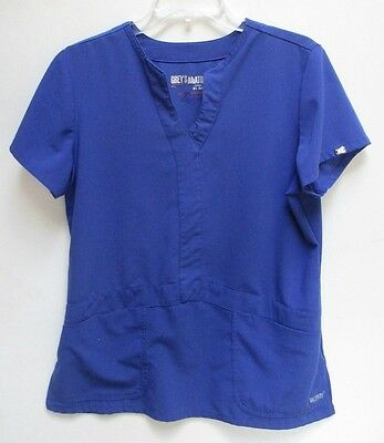 Women's Large Grey's Anatomy Signature Solid Scrub Top Shirt - Blue ~ EUC