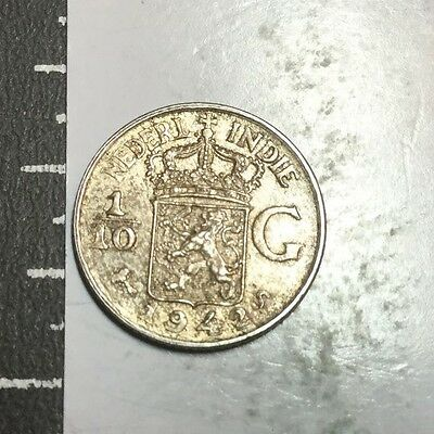 NETHERLANDS EAST INDIES 1942-S 1/10 Gulder small silver coin very nice condition