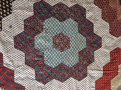 Antique C1830 Mosaic Hexagon Quilt Top Great Early Fabric Prints Never Used