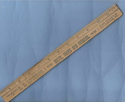 "Vintage Shoes Boots Rubbers Advertising Eb Lipscomb Staunton Virginia 12"" Ruler"