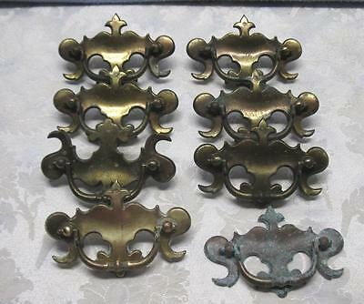 Lot of 7 Ornate Cast Brass Drawer Pulls to Restore or Repurpose