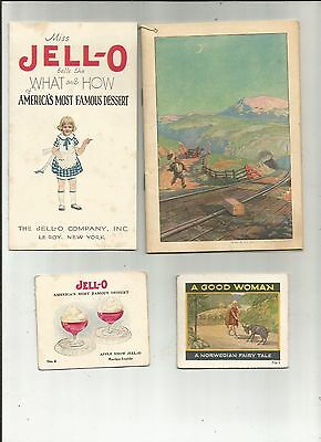 4-Early 1900's Jell-O Ephemera Booklets Famous Dessert Booklets Le Roy NY COLORS