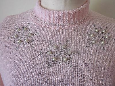 Vintage 1950s Pink Knit Sweater Pearl & Rhinestone Accents Pin Up Bombshell