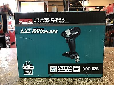 New Makita 18V Lithium‑Ion Sub‑Compact Brushless Cordless Impact Driver XDT15Z