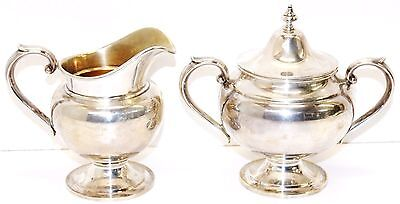 Vintage Gorham Sterling Silver Sugar & Creamer Set Puritan-Chased Hollowware