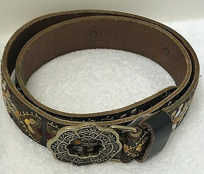 LUCKY BRAND Women's Floral Embroidered Black Leather Belt Size XL