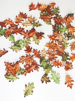 70 Pieces Autumn Leaves Sheets Brown Green Autumn Decor Oak Leaves Decor Autumn