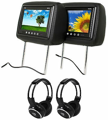"""Pair Of TView T921PL 9"""" Black Headrest Car Video Monitors + 2 Wireless Headsets"""