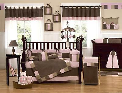 NEW Baby girl's PINK BROWN CAMEL cotbed/cot QUILT 4tog (nursery,bedding) duvet