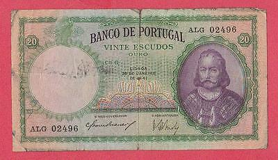 1941 Portugal 20 Escudo Note