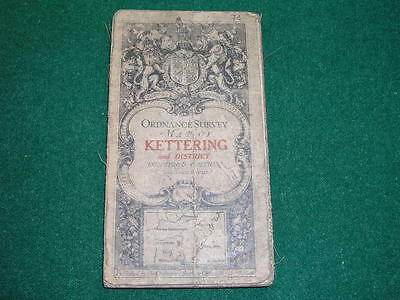 Antique Ordnance Survey Map on Cloth 1913 Kettering Sheet 74