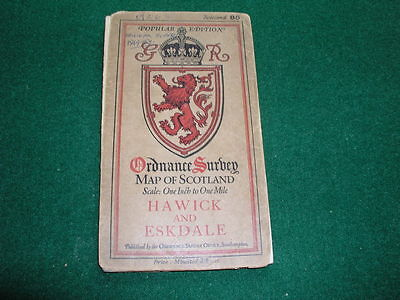 Vintage Ordnance Survey Map of Scotland on Cloth c1930's Hawick and Eskdale 85