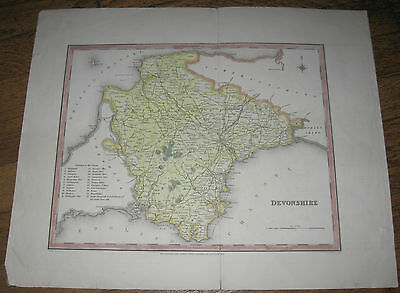 c1850  Antique Map - DEVONSHIRE, ENGLAND - Lewis' Topographical Dictionary