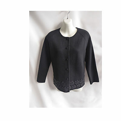 Vintage 50s Wool Sweater Size M Black Beaded Cardigan Marco Polo 40 Chest