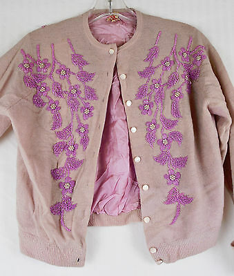 Vintage 50s Lovely Lilac Purple Extensive Bead Cardigan Floral Motif Sweater