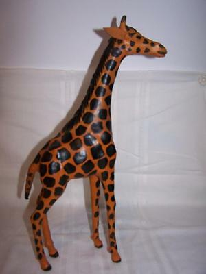 "Giraffe Statue Vintage Wrapped Leather 18"" Tall Euc"