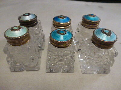lot of 6 sterling silver guilloche enamel glass salt and pepper shakers Norway