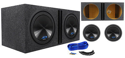 "(2) Alpine SWS-15D2 15"" 3000 Watt Car  Subwoofers + Vented Sub Enclosure Box"