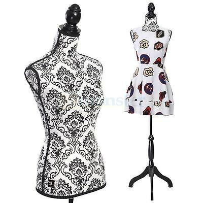 New Female Mannequin Torso Dress Form Clothing Display W/Black Tripod Stand