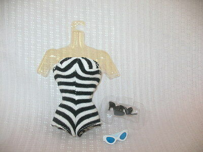 Barbie 1959 Reproduction Swimsuit Sunglasses & Shoes 35th Anniversary ~55B7