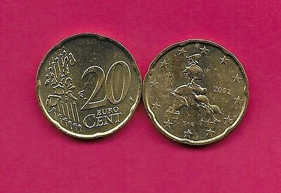 Italy Rep 20 Euro Cents 2002R Unc Futuristic Sculpture By Boccioni,value And Map