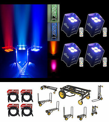 (4) Chauvet DJ Freedom Par Quad 4 Wireless Rechargable Wash Lights+Cables+Cart