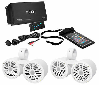 "Boss ASK902B.6 4-Ch. Marine Bluetooth Amplifier+(2) Dual 6.5"" Wakeboard Speakers"
