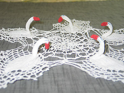 ADORABLE VTG Dimensional Hand Crochet Lace Doily SWAN-Unique-Wedding Centerpiece