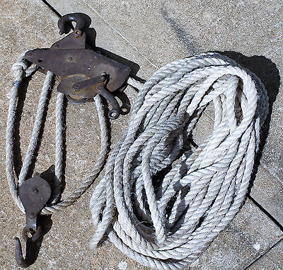 Vintage Block & Tackle With Rope