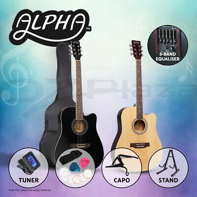 "ALPHA 41"" Inch Wooden Acoustic Guitar Classical Folk Full Size Dreadnought Bag"