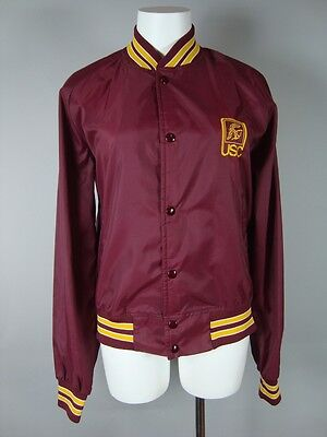 VINTAGE 80s CHALK LINE WOMEN'S USC TROJANS RED YELLOW SNAP BUTTON TRACK JACKET M