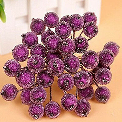 40pcs Mini Christmas Foam Frosted Fruit Berry Artificial Flower Home Tree Decor