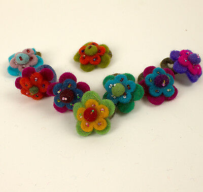 Felt Ring felted frisk flowers jewelry tinker decor 10x
